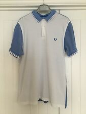 Mens Fred Perry Polo Shirt White With Light Blue, Size Large