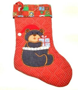 HANDMADE TEDDY BEAR CHRISTMAS STOCKING QUILTED XMAS CLOTH GREEN RED BLUE BROWN