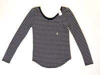 NWT Ann Taylor Loft Women's Black White Striped Scoop Neck T Shirt Blouse Top XS