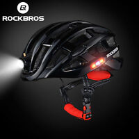 RockBros Black Cycling Safety Riding Helmet Size 49-59CM with USB Recharge Light