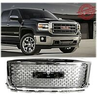 Front Grille For 2014 2015 GMC Sierra 1500 Chrome Mesh