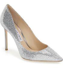 $595+ Jimmy Choo ROMY Pointy Toe Pump Heel Shoes SILVER Glitter Sz 11.5 / 11 US