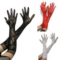 Gothic/ Steampunk Ladies Mesh Stretchy Floral Long LACE GLOVES Black/ Red/ White