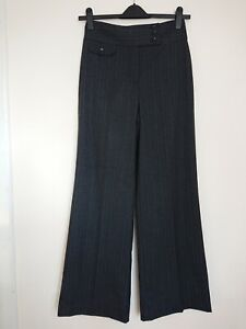 Edina Ronay Trousers Size 10 Charcoal Pinstripe Bootcut Smart Career Office Work