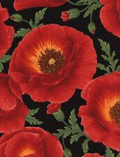 1 Half Metre Length Poppy Grove Print Fabric - C3884 red - 100% cotton