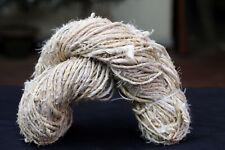 FREE SHIP 100-Gram-Recycled-Sari-Silk-WHITE-Handmade-Ribbon Yarn -craft & jweler