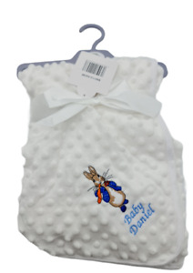 Personalised Luxury Baby Blanket Embroidered Boy Girl peter rabbit gift