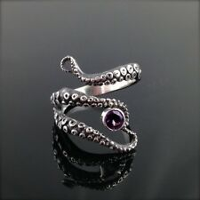 Unique Elegant Antique Silver Pink Stone Octopus Tentacle Sea Fashion Wrap Ring