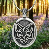 Celtic Pewter Fox Pendant made in USA with 21 inch snake stainless steel chain