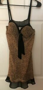 GILLIGAN & O'MALLEY Black Brown Lace Chemise Nightie XL (C/D Cup)