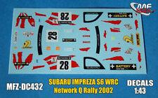 DECALS 1/43 SUBARU IMPREZA WRC - #28 - HIRVONEN - NETWORK Q RALLY 2002 - DC432