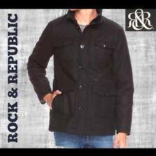 Rock & Republic Men's Wool Black Bomber Jacket Midweight Sz Small 34-36 NWT $150