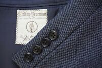 Hickey Freeman VINTAGE Woven Wool 2 Piece Suit Partial Lined Jacket Pants Sz 40S