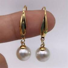 14k Yellow Gold Hook White Baroque Pearl Earrings for Women Fashion Jewelry