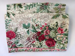 April Cornell Retired Merry Antique Tablecloth w/ Border Ivory Burgundy Green