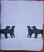 FLAT COATED RETRIEVER DOG LARGE HAND/GUEST TOWEL WATERCOLOUR PRINT SANDRA COEN