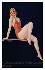 Pin Up Girl Poster 11x17 swimsuit sweetie art deco old hollywood glamour