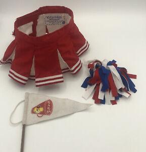 BuiLD A BeaR  Red & White Cheerleader Skirt Pompom Flag