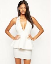 ASOS Peplum Dress with Cut Out Cross Over Back cocktail party WHITE sz 8 BNWT