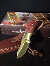 Handmade Hunting Knife Cherry Red Wood Handle Brown Leather Sheath