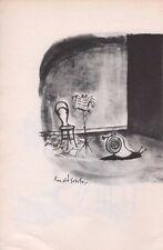 Ronald Searle vintage 1960 original bookplate snail trombone player