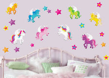 Colourful Unicorns with Stars - Pack of 22 Wall Art Stickers Peel&Stick Decals