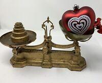 Antique W&T AVERY 2 lb brass & cast iron scale w/W.Cross Imperial Std. Weights