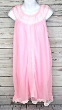 Ilgwu Pink Night Gown Vintage Sleepwear Made in Usa Nylon Size Medium M