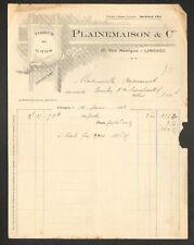"""LIMOGES (87) TISSUS en gros """"PLAINEMAISON & Cie"""" en 1922"""