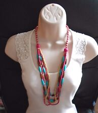"Colourful Wooden Multi-Row Beaded Necklace 30"" Long"