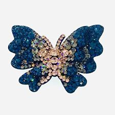 HANDMADE BUTTERFLY Hair Clip Hairpin use Swarovski Crystal Elegant Nave Blue B6