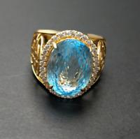 18K Solid Yellow Gold Natural Blue Topaz & Diamond Gem Stone Men's Ring
