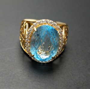 18K Solid Yellow Gold Natural Blue Topaz & Diamond Gem Stone Men's Ring #30567