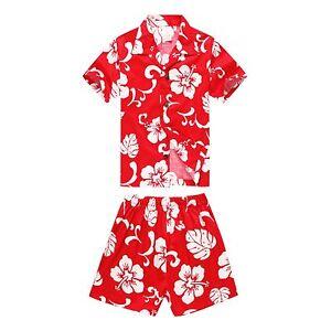 Boy Toddler Aloha Shirt Set Shorts Beach Hawaii Cruise Luau Cotton Red Hibiscus