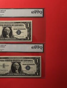 1957A -2 SILVER CERTIFICATE $1 NOTES,GRADED BY LEGACY GEM NEW 65 PPQ.