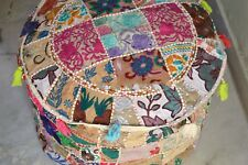 NDIAN PATCHWORK ROUND OTTOMAN KHAMBADIYA EMBROIDERY POUF COVER HOME DECOR