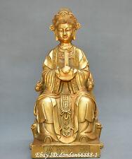 Chinese fengshui old Bronze Bixia Yuan Jun Grandma Tarzan female deity Statue