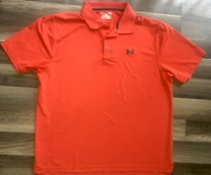 UNDER ARMOUR HEAT GEAR ORANGE POLO SHIRT MENS SIZE XLG LOOSE