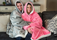 Comfy HOODIE SWEATSHIRT Wearable Blanket With Hood Sleeves Large Pocket Sherpa