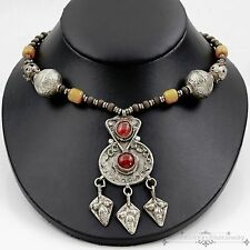 Antique Vintage Deco Sterling Silver Chinese Tibetan Amber Agate Wood Necklace!