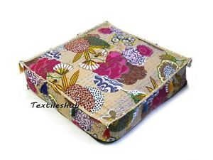 """18"""" Indian Beige Square Floral Home Décor Handmade Kantha Floor Cushion Cover US"""