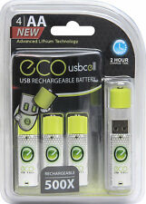 USB AA 1.5V Rechargeable Batteries 4CT,  Lithium 1040 mAh (USBCell ECO) AA4