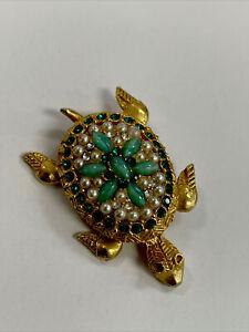 Turtle Pin Gold Tone Green Stones