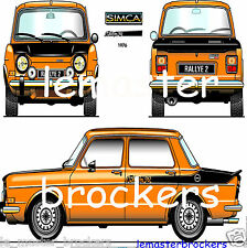 SIMCA 1000 RALLY de 1976  Poster voiture sport auto yougtimer vintage