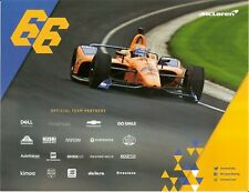 2019 FERNANDO ALONSO McLAREN CHEVROLET INDIANAPOLIS 500 HERO PHOTO CARD INDY CAR
