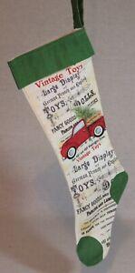 "New 21"" Farmhouse Red Truck w/ Christmas Tree Green & Tan Stocking"