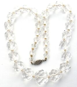 Clear Crystal Quartz Bead Necklace Hand Knotted Sterling Silver Faceted Vintage