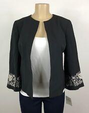 A47 Women's Kasper Black Silver Floral Blazer Jacket Size 4 NEW