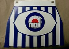 VESPA LAMBRETTA azul y blanca a rayas Cuppini Mod Target Mudflap Tipo de Goma