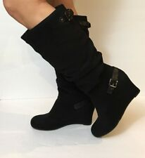 Solanz Boots Womens Black Knee High Size 9 1/2M Wide Calf Faux Suede Wedge